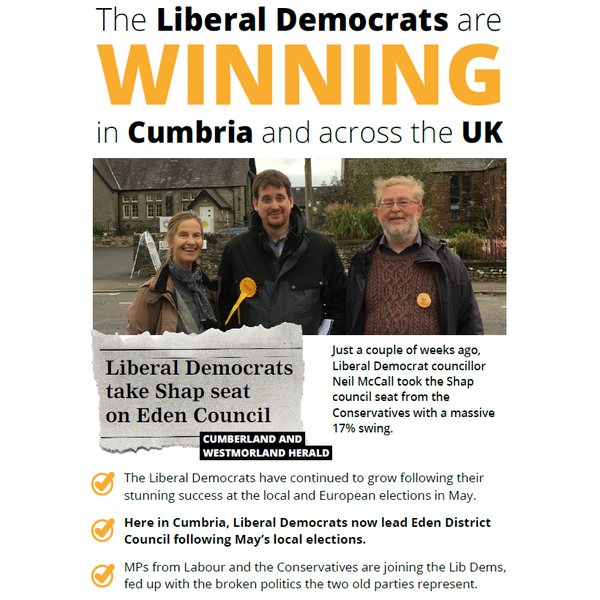Penrith EA Leaflet - Lib Dem's winning in Cumbria