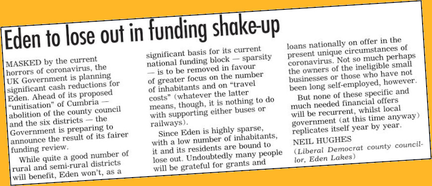 Local Government Funding by Neil Hughes - Letter to Herald 11May2020 - LD border