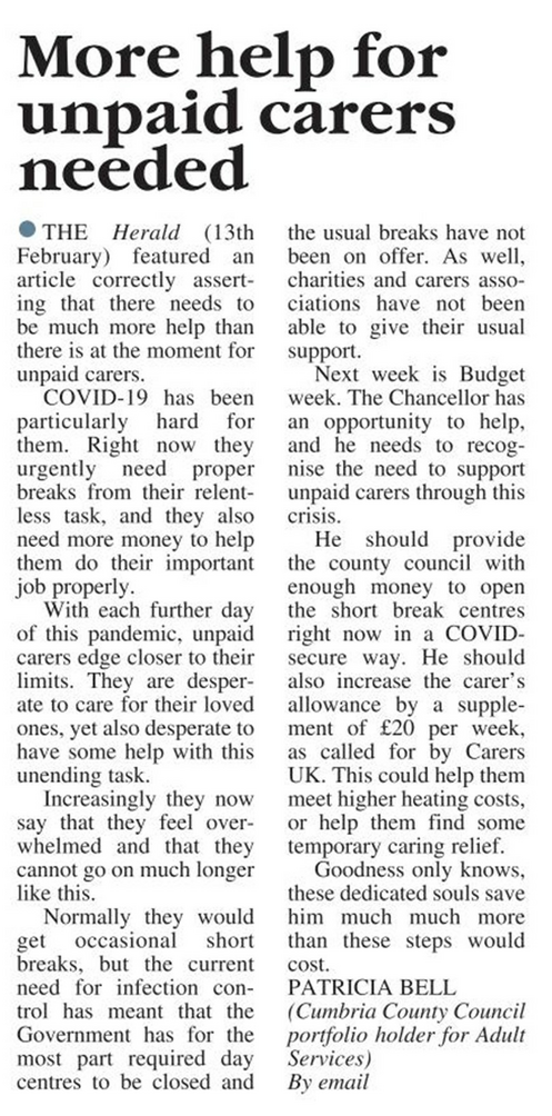 Carers Letter - CWH 27Feb21 (Cumberland & Westmorland Herald)